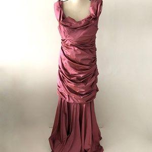 Escada Pink Ruffle Gown Dress Size 44